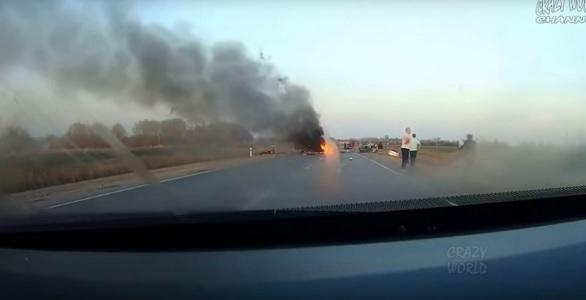 После смертельного дтп удалось заснять души людей благодаря видеорегистратору (видео 18+)